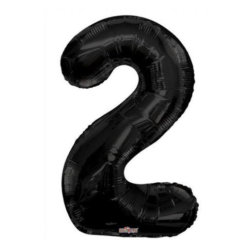 Фигурный шарик из фольги Цифра 2 черная 86см Уценка