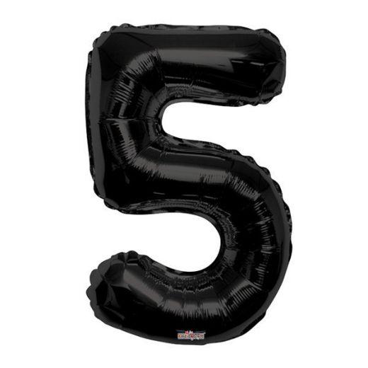 Фигурный шарик из фольги Цифра 5 черная 86см Уценка
