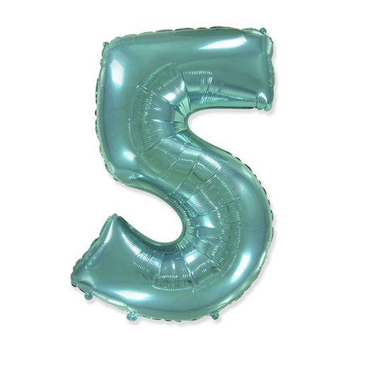 """Фигурный шарик из фольги Цифра 5 Tiffany 40""""/102см"""