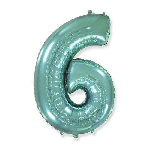 """Фигурный шарик из фольги Цифра 6 Tiffany 40""""/102см"""