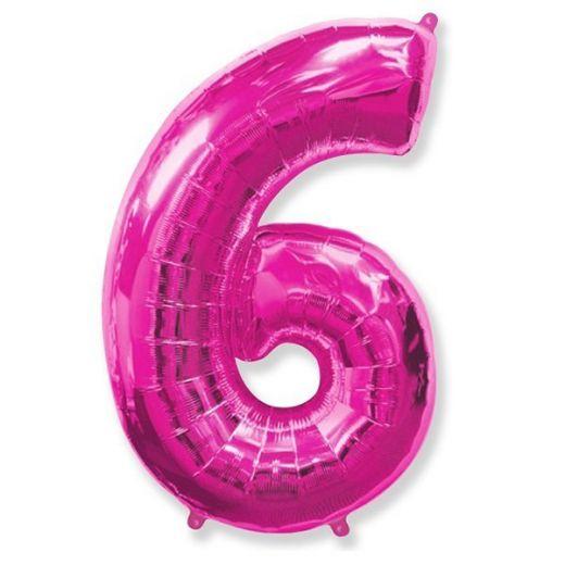 Фигурный шарик из фольги Цифра 6 розовая 102см