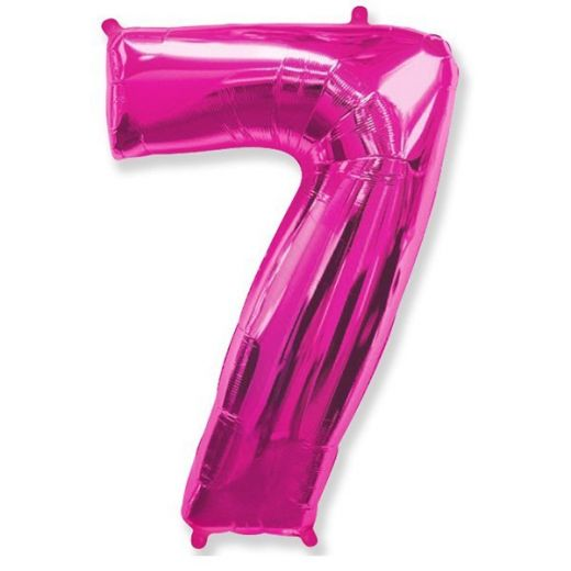 Фигурный шарик из фольги Цифра 7 розовая 102см