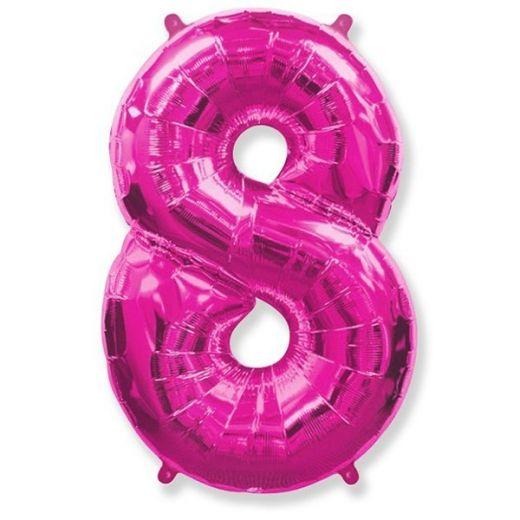 Фигурный шарик из фольги Цифра 8 розовая 102см