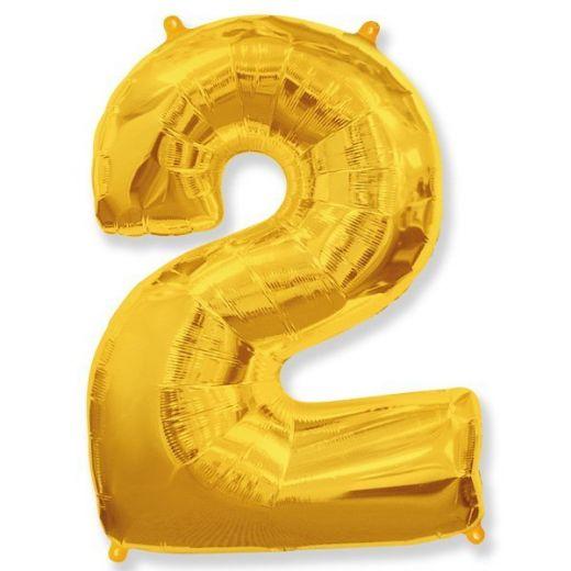 Фигурный шарик из фольги Цифра 2 золото 102см