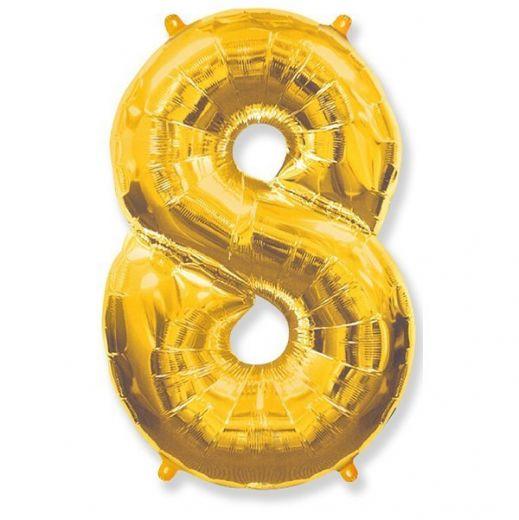 Фигурный шарик из фольги Цифра 8 золото 102см