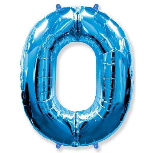 Фигурный шарик из фольги Цифра 0 голубая 102см