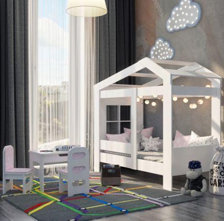 Кровать домик ДС-32 со столом и стульчиками