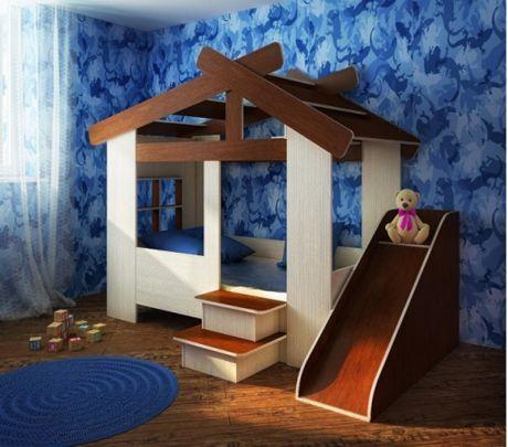 Кровать Домик для детей с игровой горкой
