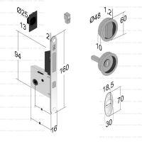 Bonaiti Tondo G500T H21 WC комплект для раздвижных дверей с замком. схема