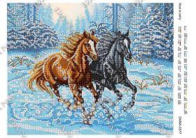Dana DANA-3377 Кони в Снегу схема для вышивки бисером купить в магазине Золотая Игла