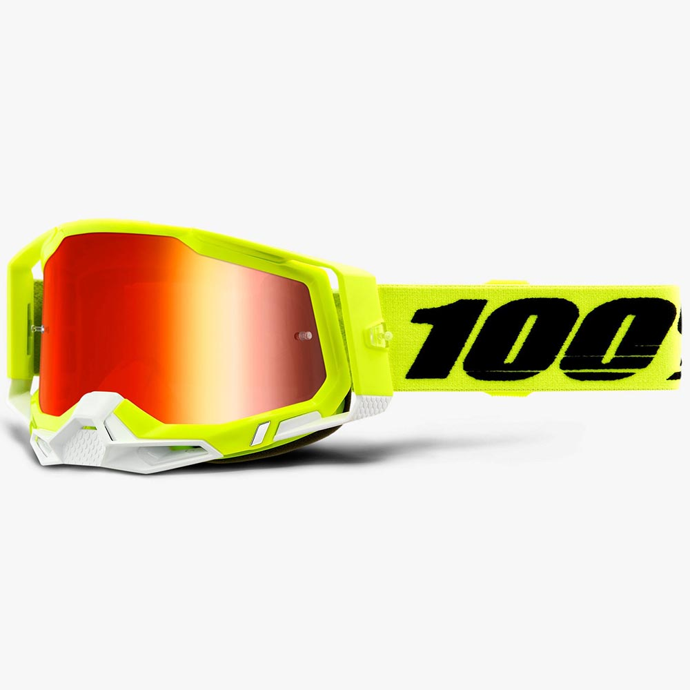 100% Racecraft 2 Fluo Yellow Mirror Red Lens, очки