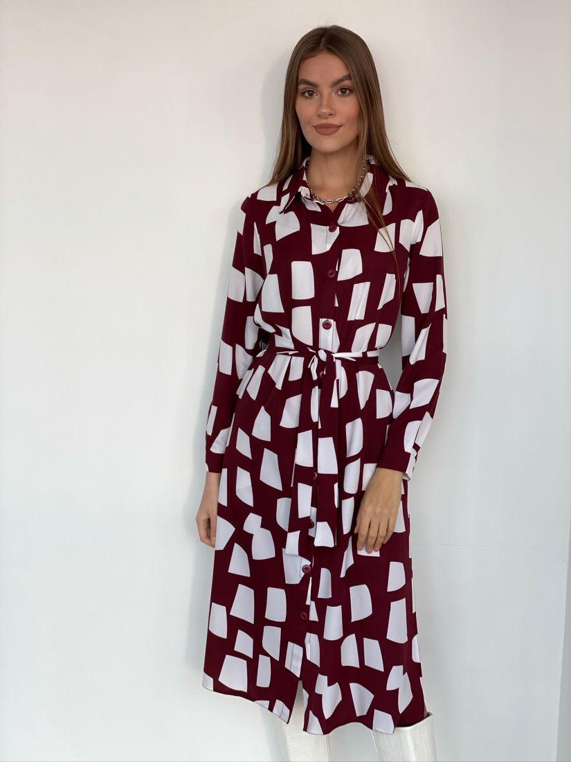 s1956 Платье-рубашка бордовое