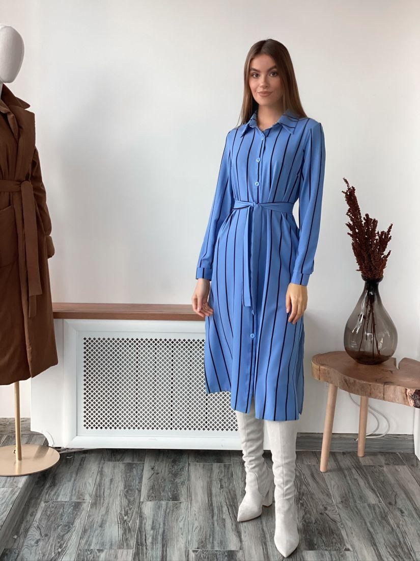 s1960 Платье-рубашка в голубую широкую полоску