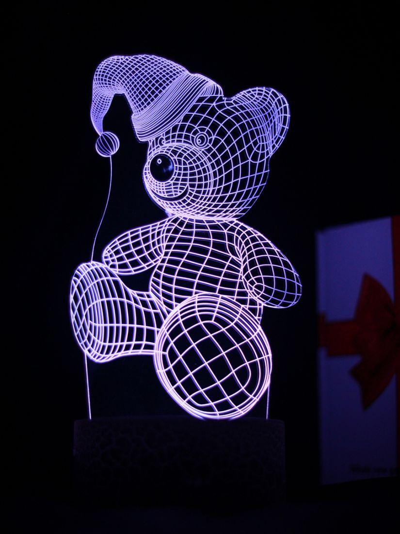Светодиодный ночник PALMEXX 3D светильник LED RGB 7 цветов (медвежонок в шапке)