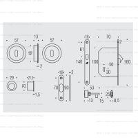Colombo OPEN ID211 LK WK комплект для раздвижных дверей с замком под ключ. схема