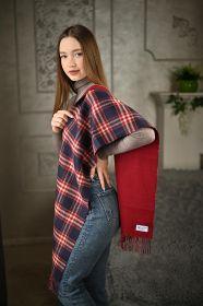 Роскошный двусторонний кашемировый шарф (100% драгоценный кашемир) ГАМИЛЬТОН -ТРАДИЦИОННАЯ КЛЕТКА -ВИННЫЙ ЦВЕТ, PLAIN / CHECK, высокая плотность 7