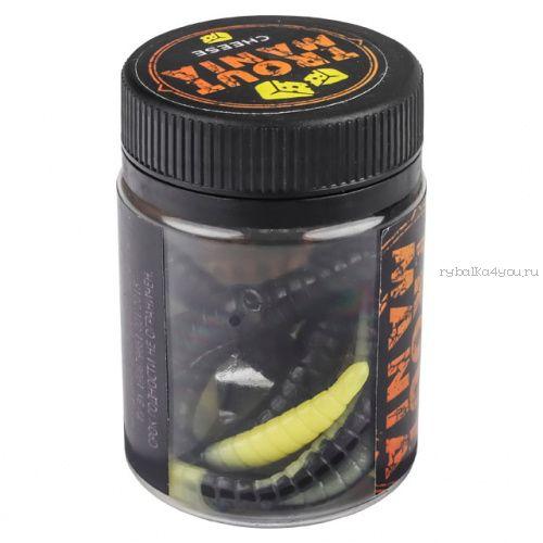 """Мягкие приманки Trixbait Trout Mania Fat Worm 3"""" 75 мм / упаковка 6 шт / цвет: 206 Black&Cheese (Cheese)"""