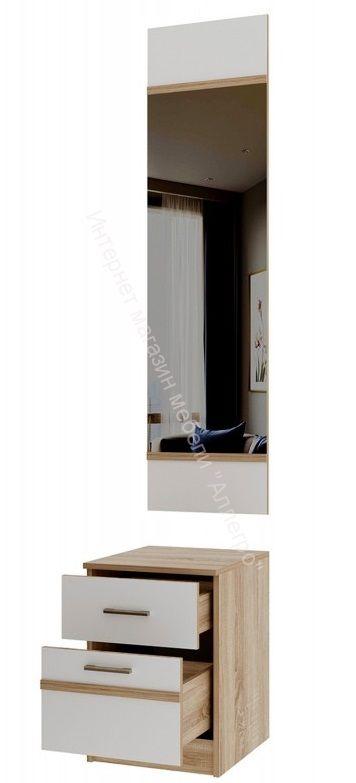 """Тумба с зеркалом """"Сакура"""" Дуб сонома/Белый глянец"""
