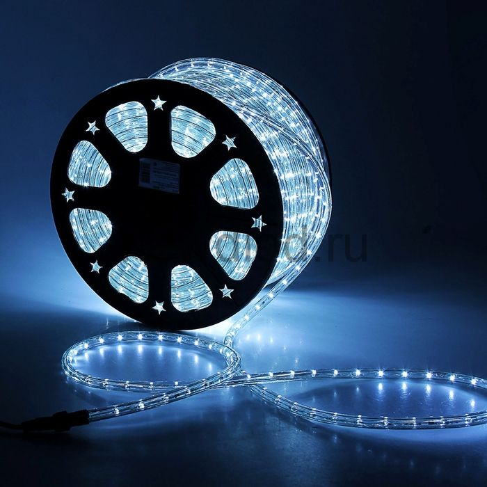 LED шнур 13 мм, круглый, 100 м, фиксинг, 2W-LED/м-36-220V. в компл. набор д/подкл, БЕЛЫЙ