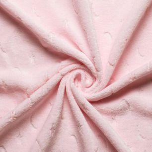 Мех искусственный Жаккард - Розовый со звездами и луной 50х37