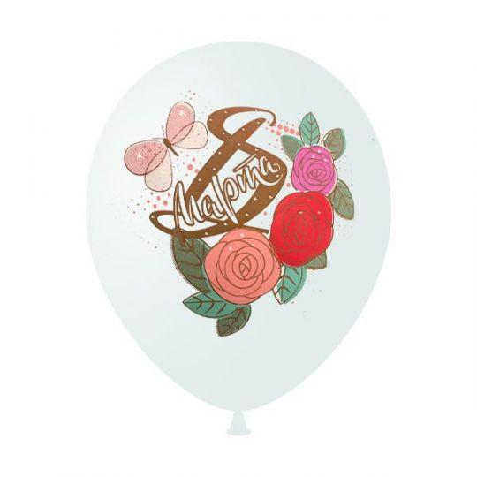 8 Марта с розами шар латексный с гелием