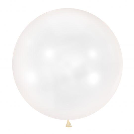 Белый метровый шар латексный с гелием