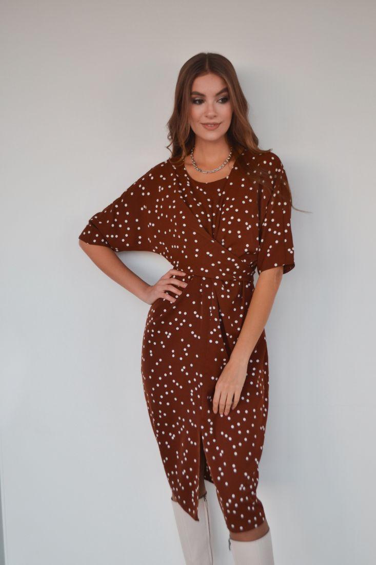 s3208 Платье с перекрутами коричневое в горох