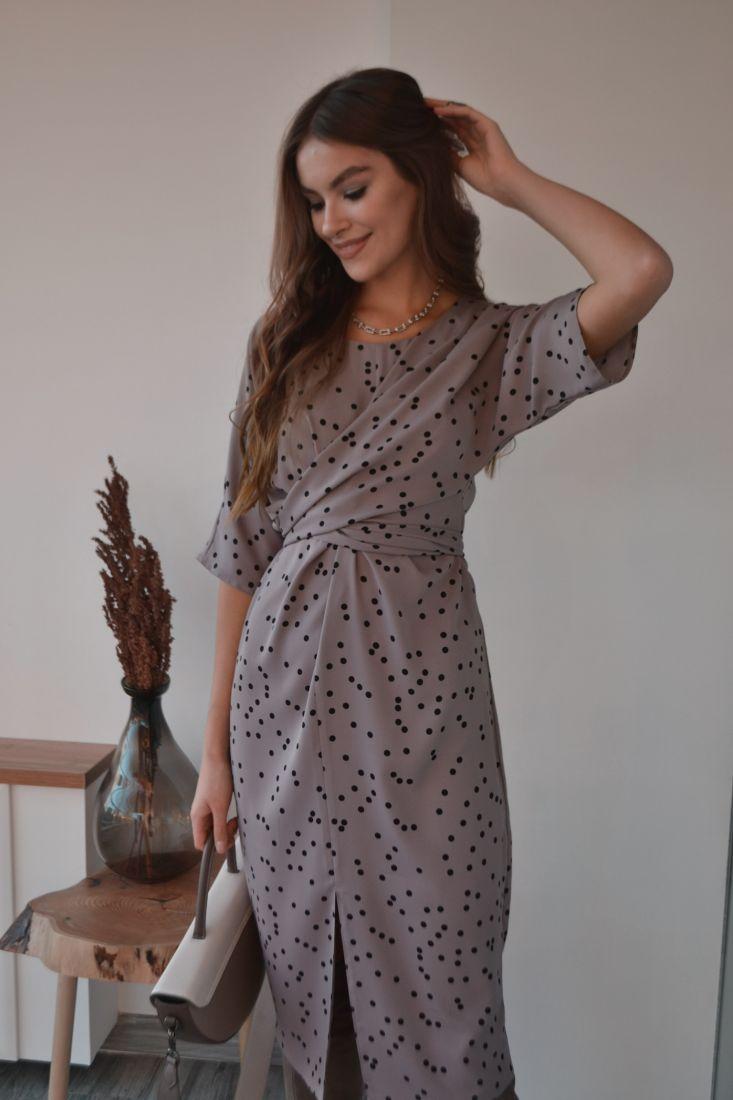 s3211 Платье с перекрутами серое в горох