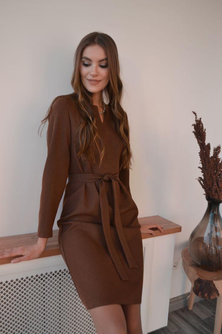 s3215 Платье в коричневую гусиную лапку