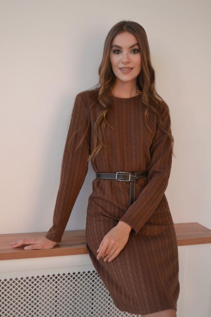 """s3218 Платье-свитер в цвете """"какао"""""""