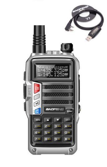 Радиостанция Baofeng UV-S9 + USB зарядка серебряная 5-10 км