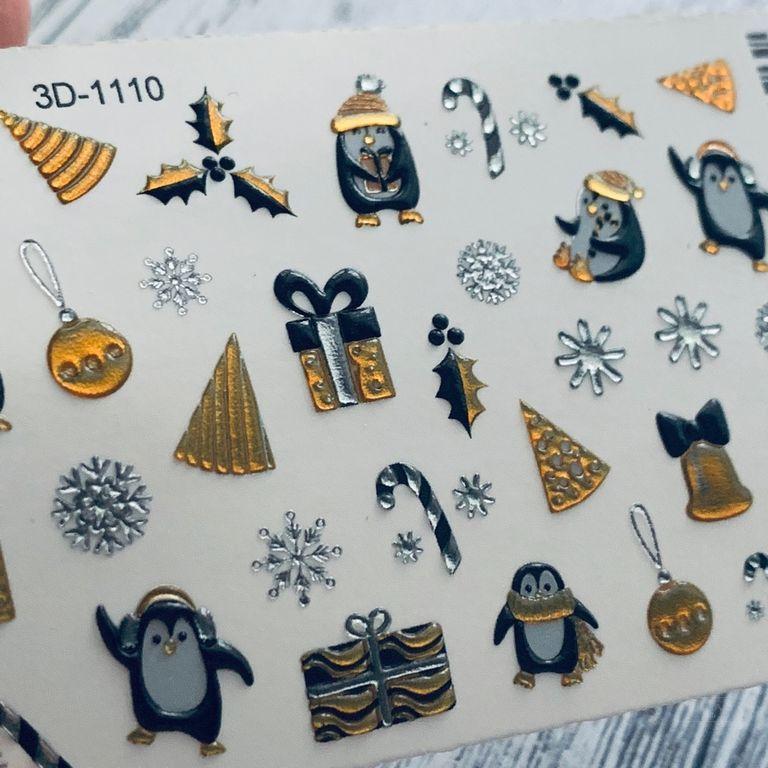 3D ХРУСТАЛЬНЫЙ СЛАЙДЕР-ДИЗАЙН  3D1110  СRYSTAL Зимняя сказка, Пингвины !!! Супер эффект!!!