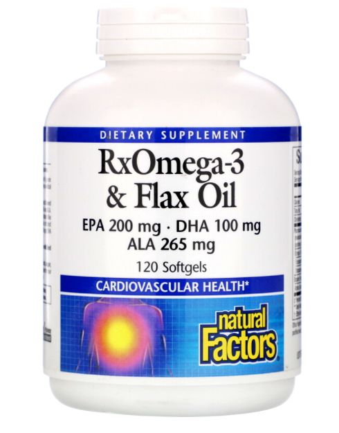 Natural Factors RxOmega-3 и льняное масло 120 капс