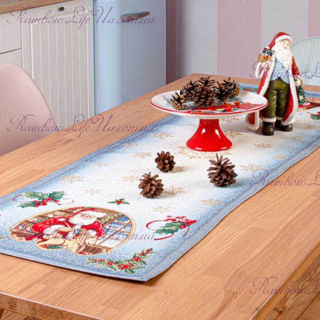 """Раннер новогодний гобелен с люрексом """"Санта"""""""