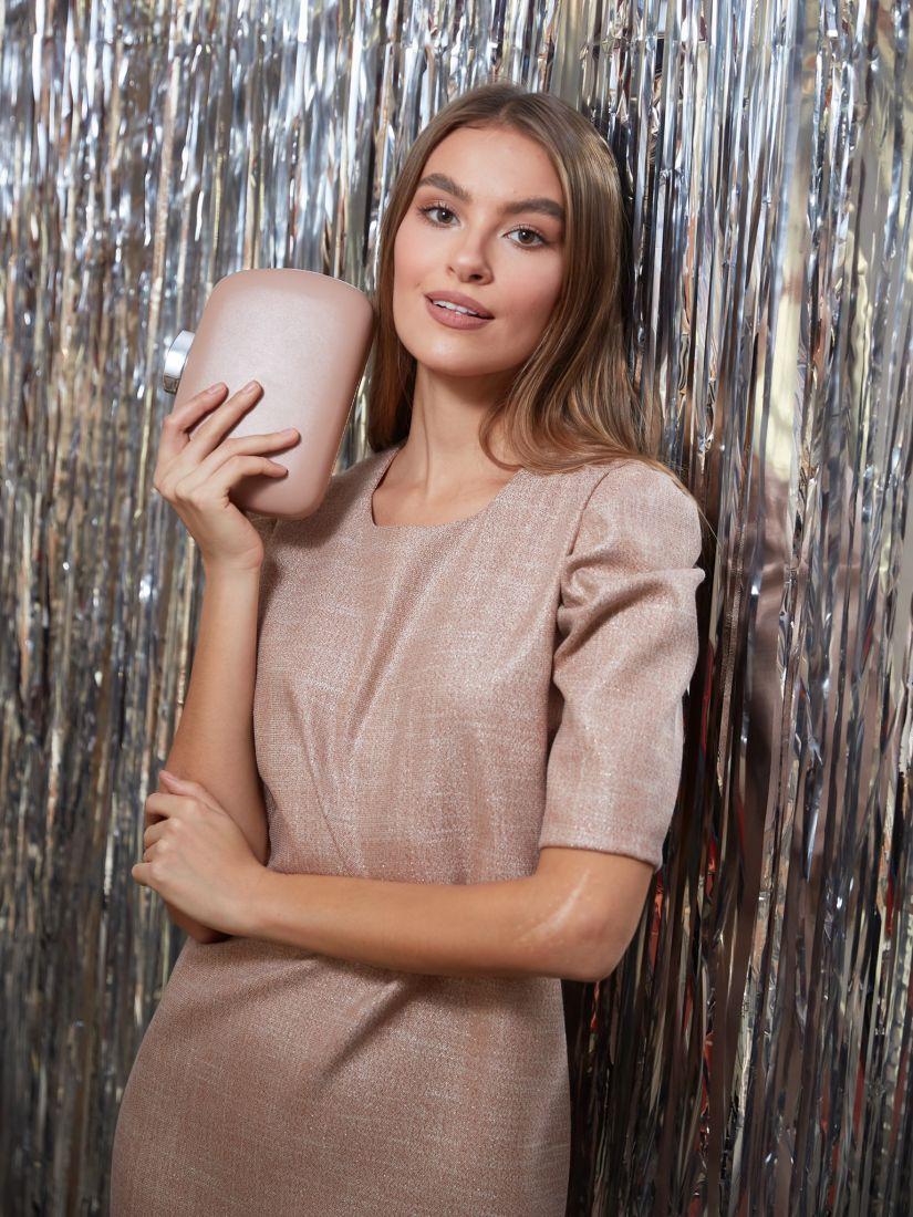 s3237 Платье с объёмными рукавами бежевое с люрексом