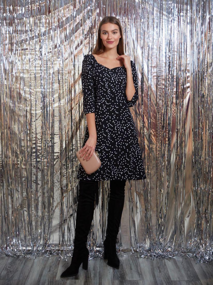 s3239 Платье в ретро-стиле чёрное в горох