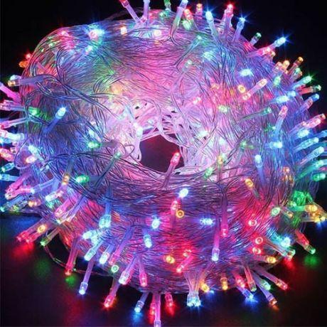 Разноцветная светодиодная гирлянда-нить 200 LED лампочек 8 м