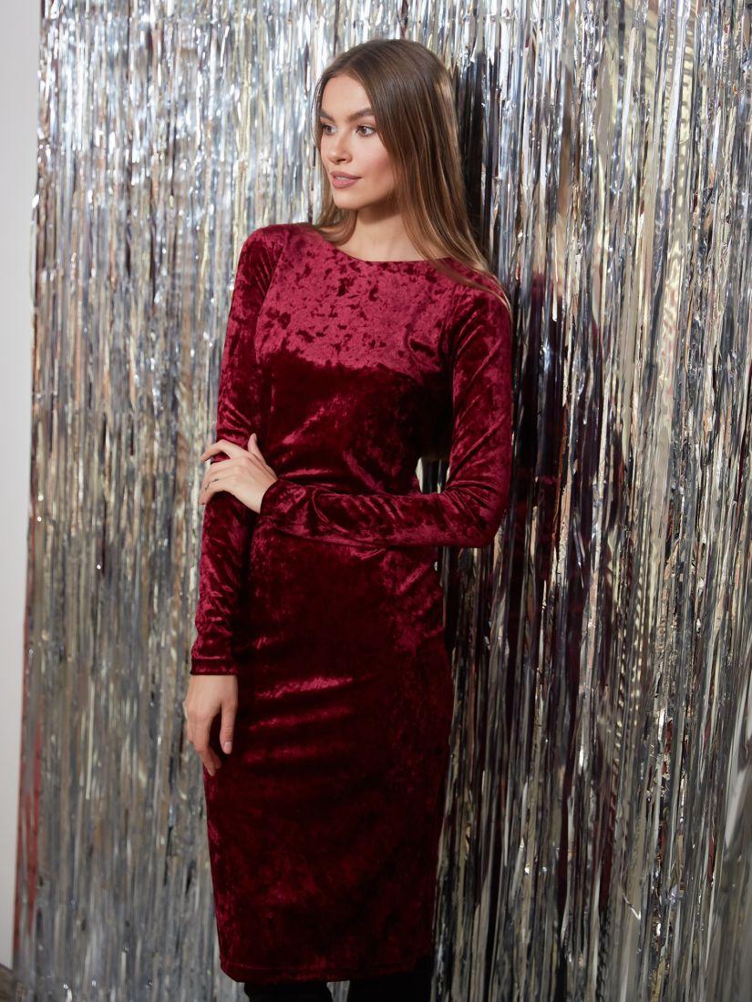 s3249 Платье из ломаного бархата бордовое