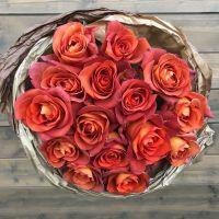 15 кофейных роз 50 см в красивой упаковке