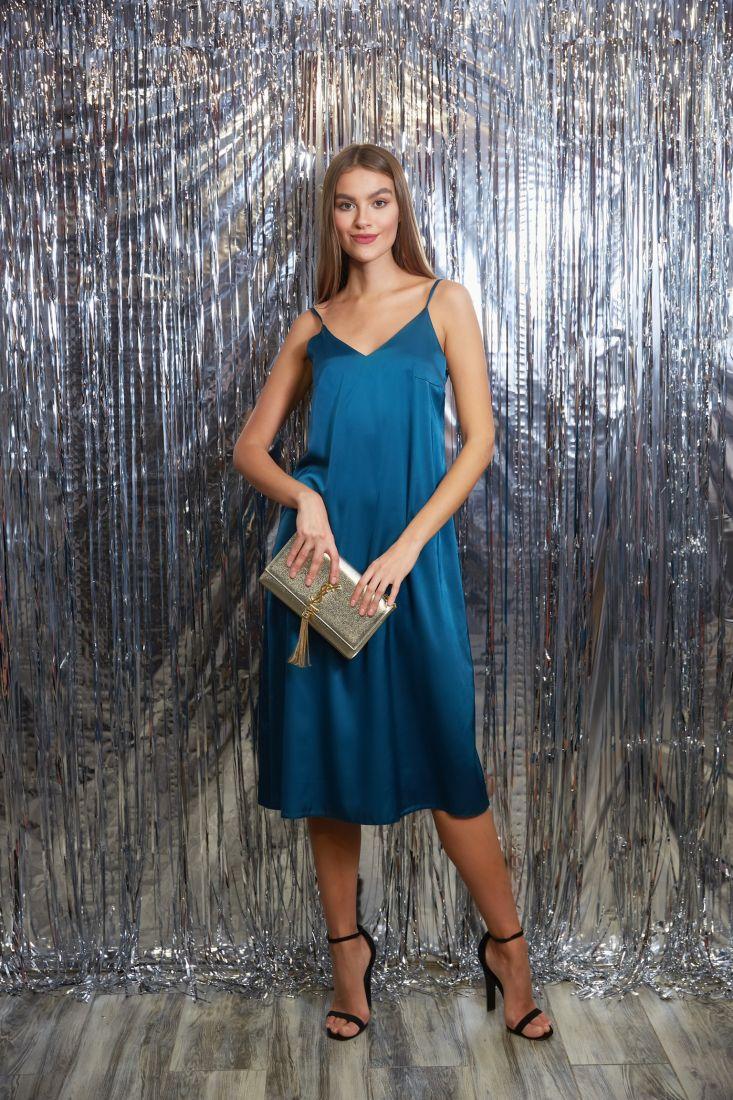s3259 Платье-комбинация из шёлка в глубоком синем цвете