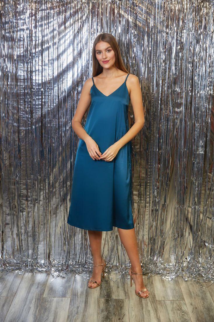 s3262 Платье-комбинация из шёлка в цвете emerald