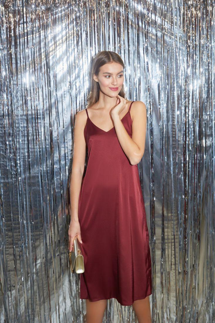 s3263 Платье-комбинация из шёлка в цвете marsala