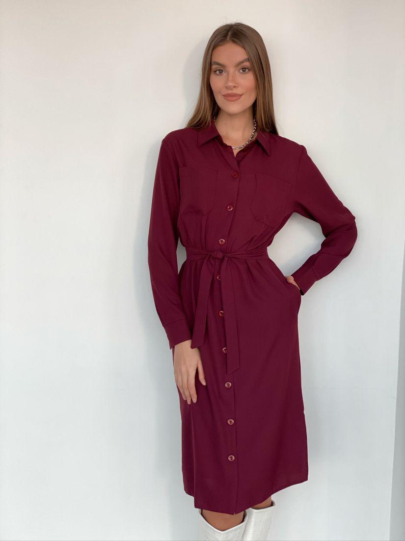 s2182 Платье-рубашка со скошенным рукавом в цвете красная груша