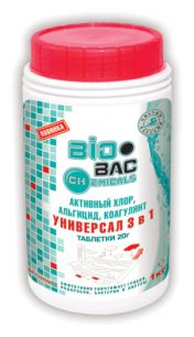УНИВЕРСАЛ 3 В 1 (хлор, альгицид, коагулянт) ТАБЛЕТКИ 20 гр. BP- CH90MT1