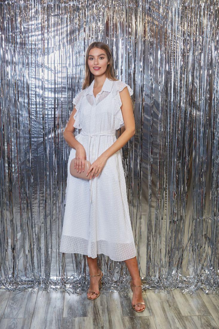 s3271 Платье из белого микрошифона с жаккардовым узором