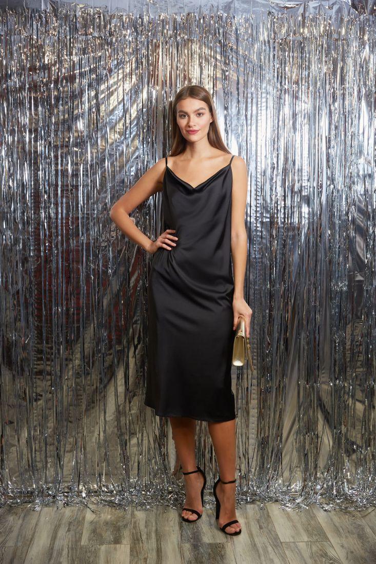 s3274 Платье-комбинация из шёлка чёрное