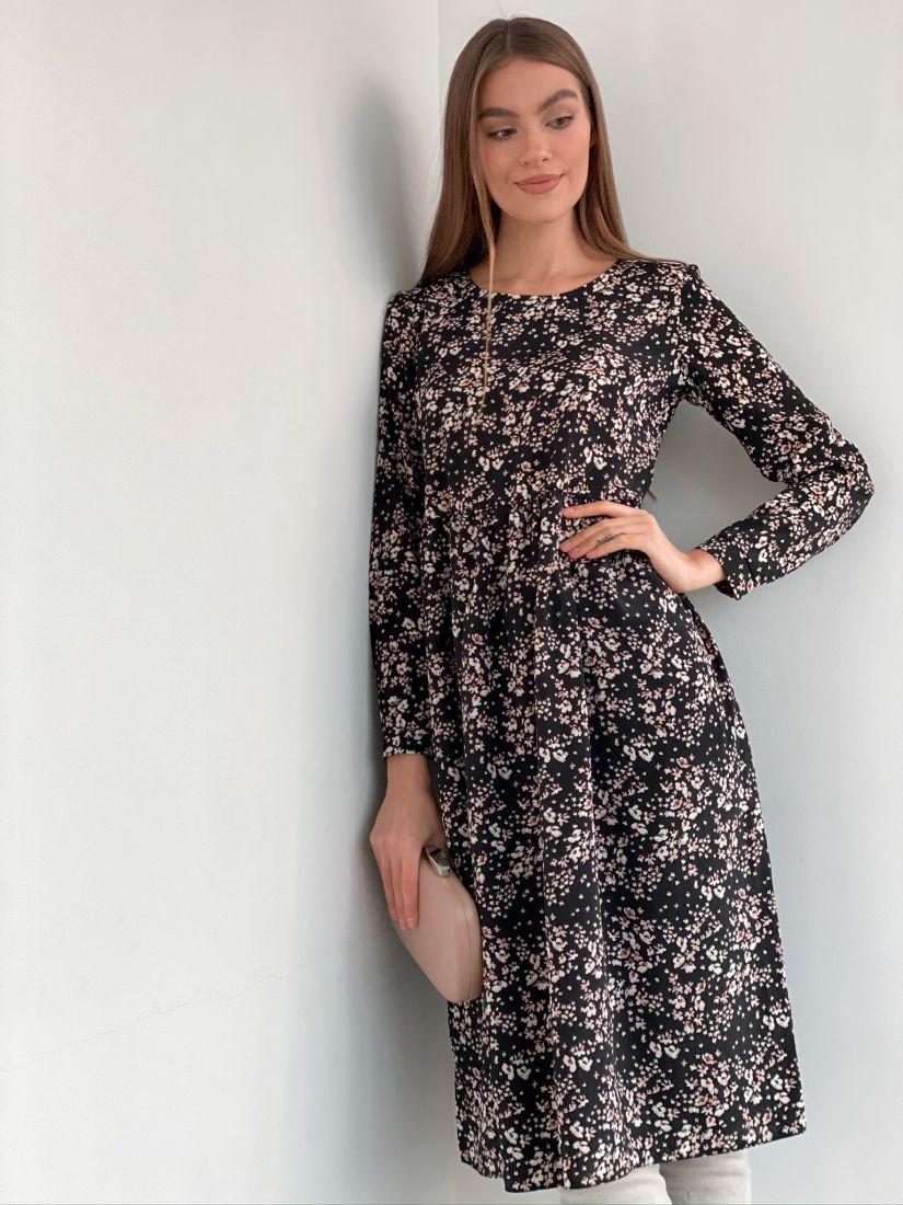 s3284 Платье чёрное с цветами