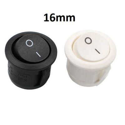 Круглая кнопка вкл-выкл 10A, 16мм, 2 контакта (2 цвета)