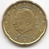 20 евроцентов Бельгия 2010 регулярная из обращения