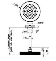 Тропический душ Gessi Ingranaggio 63550 21,8х21,8 высота под заказ